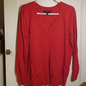Brilliant Red Lane Bryant v-neck sweater